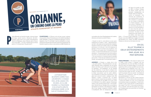 H novembre 2015 - Portrait photo et rédactionnel d'Orianne Lopez, athlète handisport et interne en médecine