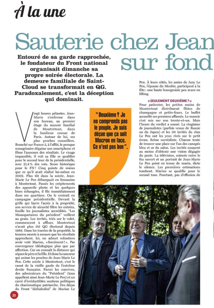 28 avril 2017, Le Soir Mag (Belgique)