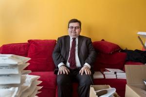 7 avril 2016, Paris (75), FRANCE. Portrait de Jérome Bourbon, directeur de la publication et rédacteur en chef de Rivarol, hebdomadaire d'extrême droite, au sein des locaux de Rivarol situé dans une tour du 13ème arrondissement de Paris.