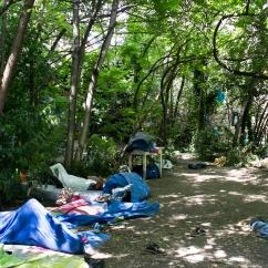 Les migrants se sont installés au bois Dormoy, un jardin partagé dans le 18ème arrondisseùet de Paris. L'association en charge du lieu leur a ouvert les portes dans la nuit du 8 au 9 juin, suite aux violences policières.