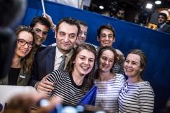 1er mai 2017, Villepinte, FRANCE. Floriant Philippot (FN) dans l'entre deux tours de la campagne présidentielle 2017 lors du meeting de Marine Le Pen à Villepinte.