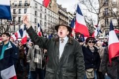 5 mars 2017, Paris (75), FRANCE. Rassemblement en soutien à François Fillon au Trocadero. Le candidat à l'élection présidentielle essaie de gagner le soutien populaire des militants face aux défections qui gangrènent sa campagne.