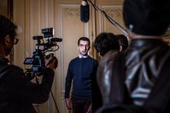23 avril 2017, Saint-Cloud (92), FRANCE. Soirée des résultats du 1er tour de la campagne présidentielle en compagie de Jean-Marie Le Pen au manoir de Montretout.