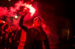 """14 janvier 2017, Paris, FRANCE. Aurélien Verhassel, chef de Génération Identitaire Flandres est venu à la manifestation de """"Paris fierté"""", une association qui émane de Génération Identitaire, en l'honneur de Sainte-Geneviève patronne de la ville de Paris. Les slogans portent sur la défense de l'identité de Paris face à l'Islam."""