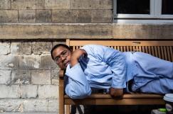 28 août 2019. Jérôme se pose sur le banc au soleil.