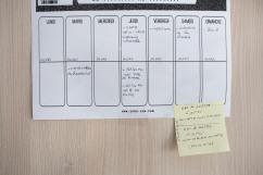 10 mai 2019. Le tableau d'activités de la semaine de Thomas.
