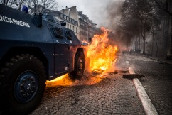 December 8th, 2018, Paris (75), FRANCE. Armoured vehicule on Friedland avenue during the demonstration of yellow jackets in Paris. 8 décembre 2018, Paris (75), FRANCE. Véhicule blindée en action avenue de Friedland lors de la manifestation des gilets jaunes à Paris.